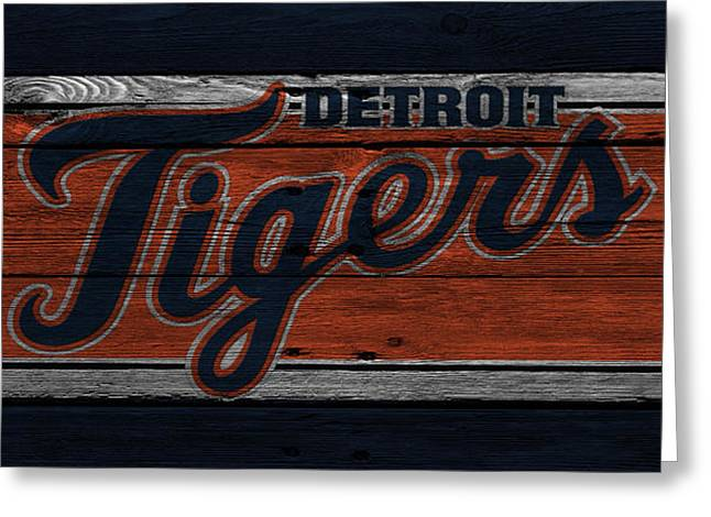 Glove Greeting Cards - Detroit Tigers Greeting Card by Joe Hamilton