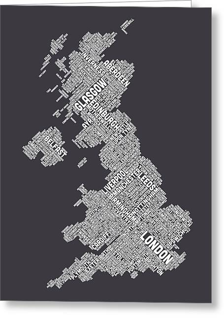 Wales Digital Greeting Cards - Great Britain UK City Text Map Greeting Card by Michael Tompsett