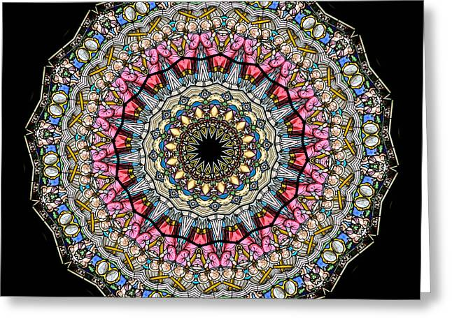Cherub Greeting Cards - Kaleidoscope Stained Glass Window Series Greeting Card by Amy Cicconi