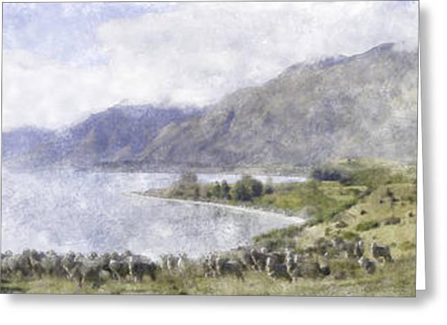 Tim Pastels Greeting Cards - Lake Wakatipu Greeting Card by Tim Mulholland