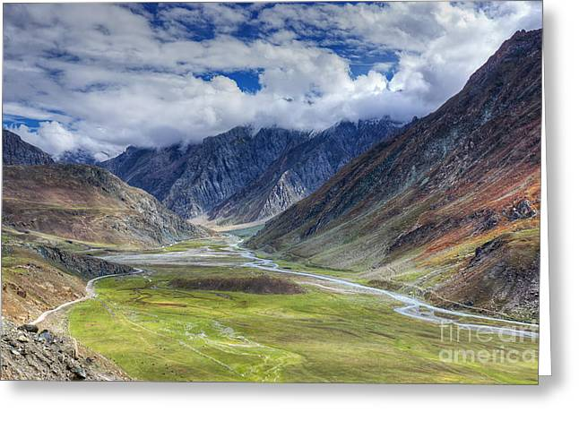 Asia Greeting Cards - Landscape of Ladakh Jammu and Kashmir India Greeting Card by Rudra Narayan  Mitra