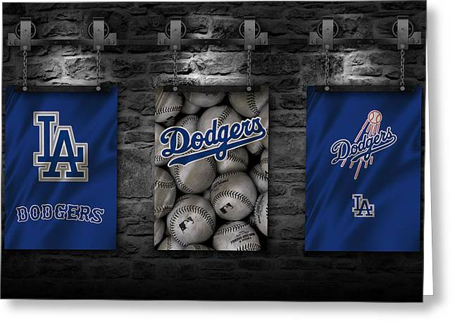 Glove Greeting Cards - Los Angeles Dodgers Greeting Card by Joe Hamilton