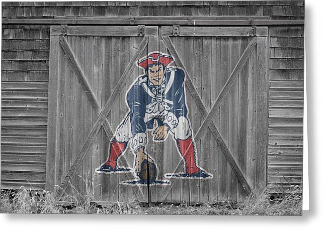 Barn Door Greeting Cards - New England Patriots Greeting Card by Joe Hamilton