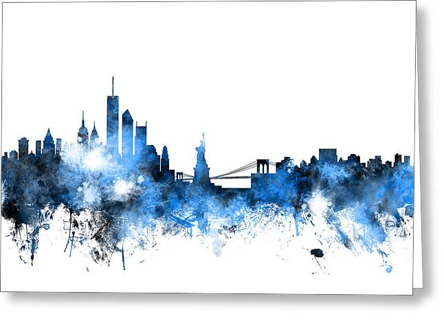 Manhattan Greeting Cards - New York Skyline Greeting Card by Michael Tompsett