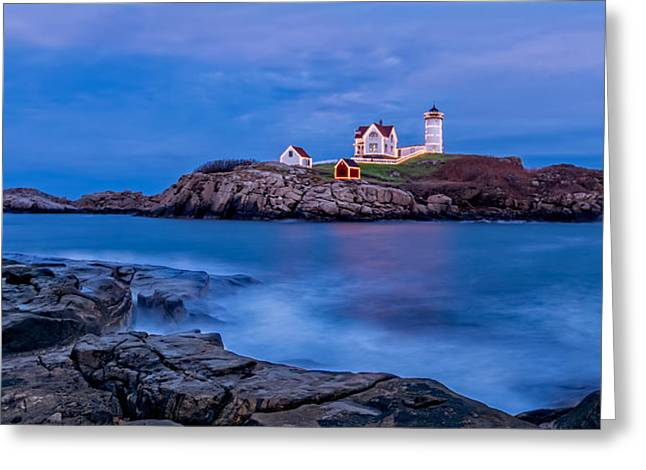 Cape Neddick Lighthouse Greeting Cards - Nubble Lighthouse Greeting Card by Edmund Prescottano