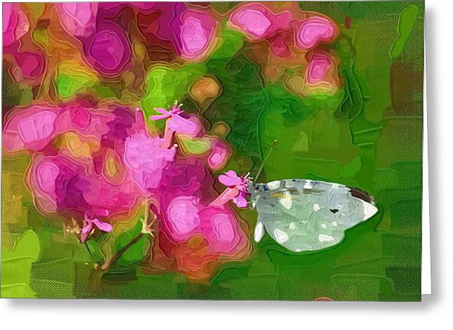 Close Up Paintings Greeting Cards - Painting Flowers Oil Greeting Card by Victor Gladkiy