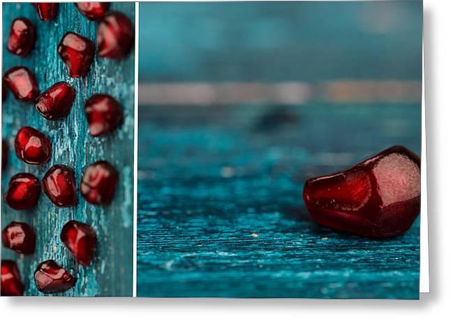 Cyan Greeting Cards - Pomegranate Greeting Card by Nailia Schwarz