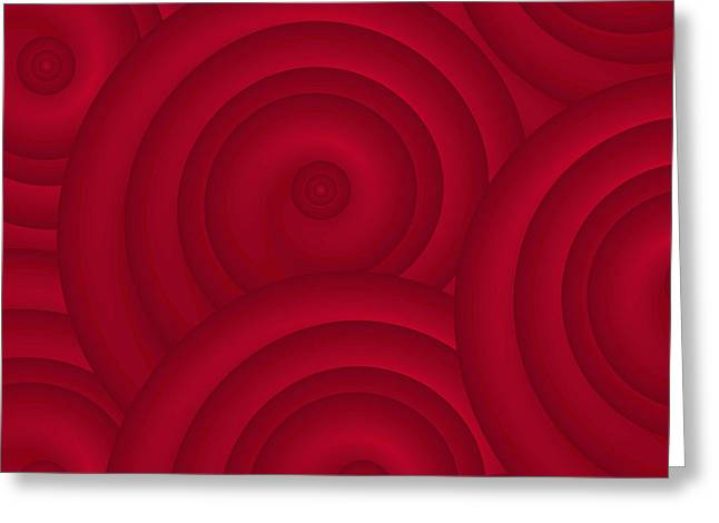 Regular Greeting Cards - Red Abstract Greeting Card by Frank Tschakert