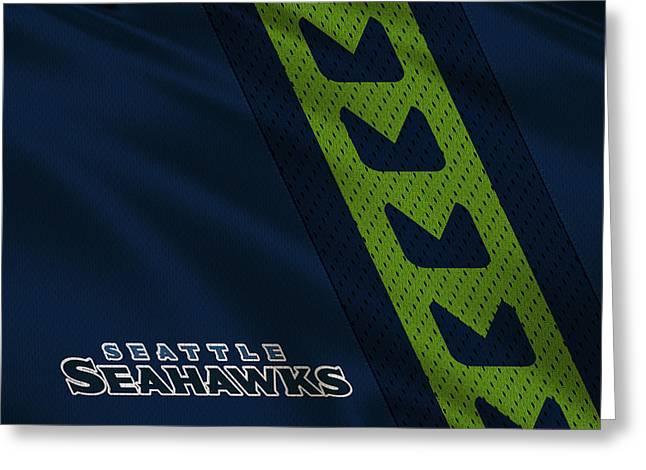 Seattle Greeting Cards - Seattle Seahawks Uniform Greeting Card by Joe Hamilton