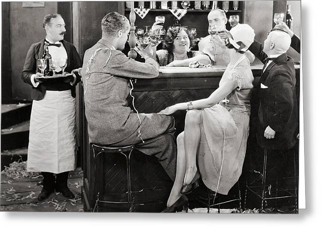 Apron Greeting Cards - Silent Film Still: Parties Greeting Card by Granger