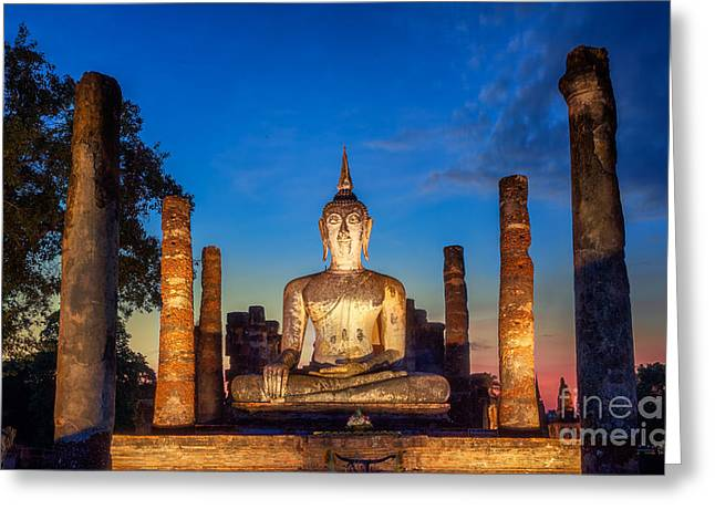 Unseen Greeting Cards - Sukhothai historical park Greeting Card by Anek Suwannaphoom