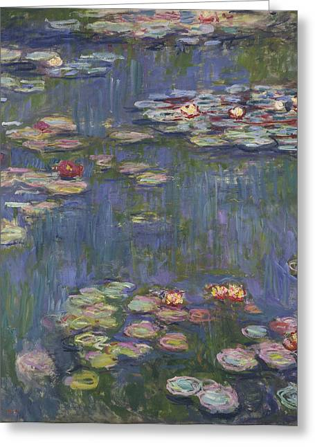 Historical Art Greeting Cards - Water Lilies Greeting Card by Claude Monet