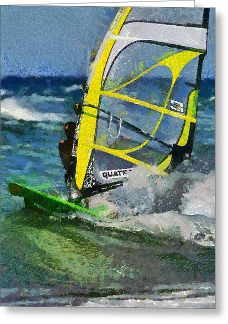 Amusements Greeting Cards - Windsurfing Greeting Card by George Atsametakis