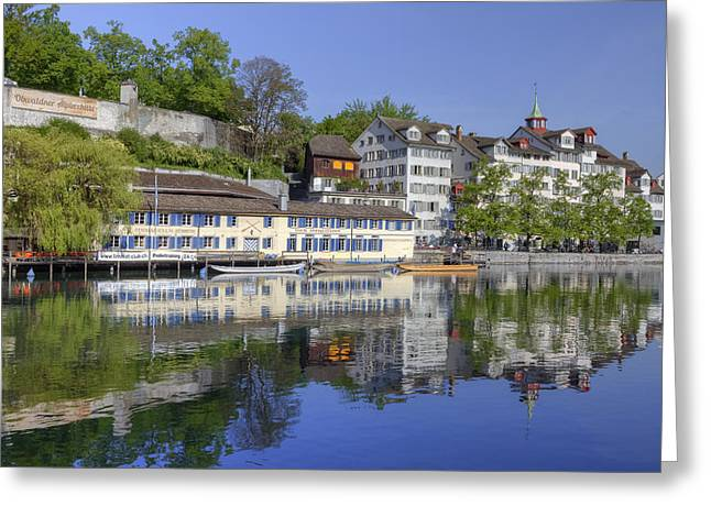 Historic Center Greeting Cards - Zurich Greeting Card by Joana Kruse