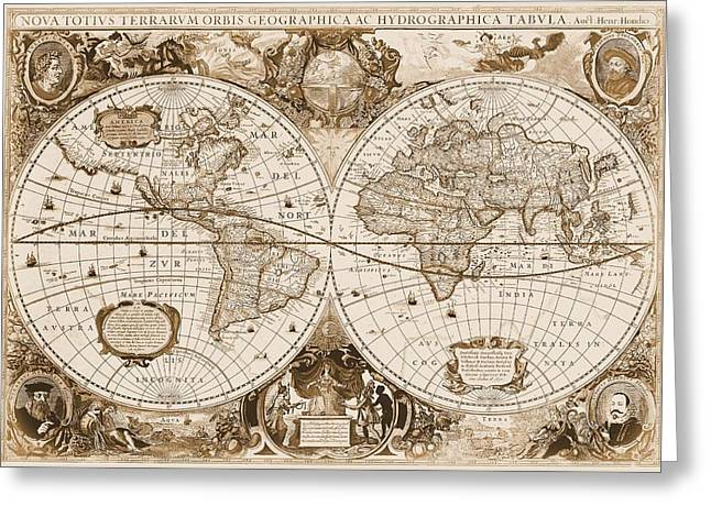 Cartography Mixed Media Greeting Cards - 1630 Antique World Map Greeting Card by Dan Sproul
