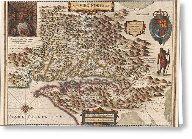 Wishful Thinking Greeting Cards - 1630 Hondius Map of Virginia and the Chesapeake Greeting Card by Paul Fearn