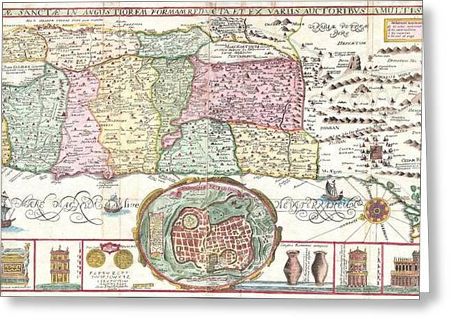 1632 Tirinus Map of the Holy Land Greeting Card by Paul Fearn