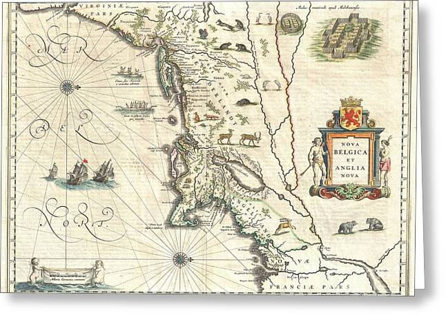 Causing Confusion Greeting Cards - 1635 Blaeu Map of New England and New York Greeting Card by Paul Fearn