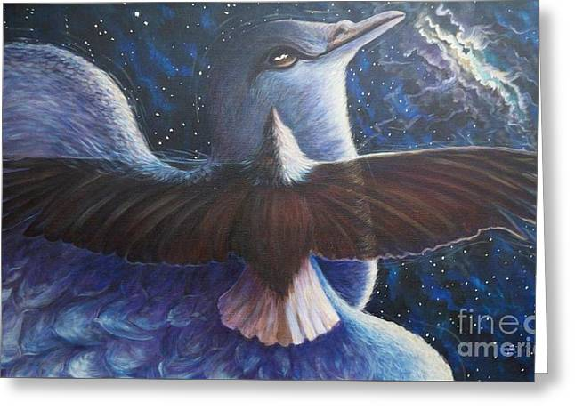 Strength Paintings Greeting Cards - 164 Spiritual Guided Flight Greeting Card by Sigrid Tune