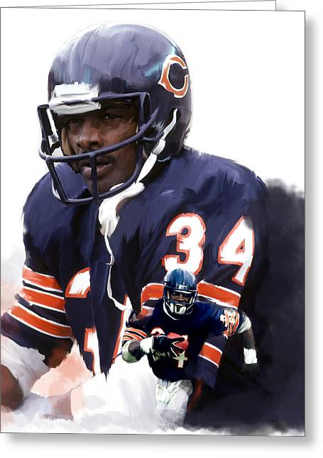 Sweetness Greeting Cards - Sweet Chicago Walter Payton Greeting Card by Iconic Images Art Gallery David Pucciarelli