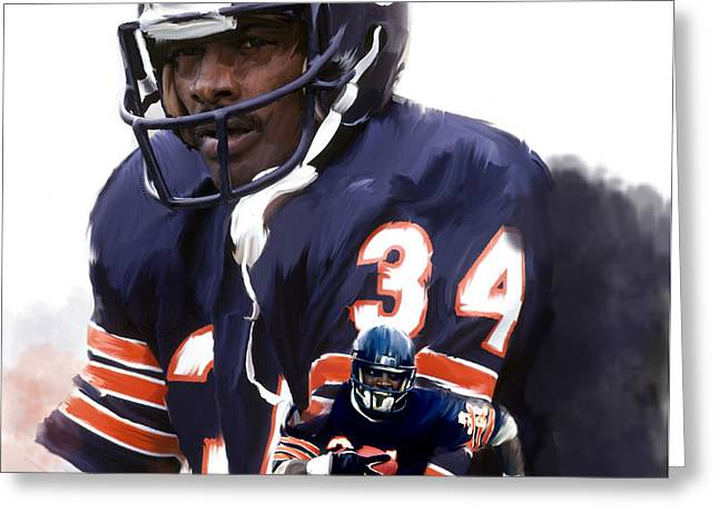 Art Lithographs Greeting Cards - Sweet Chicago Walter Payton Greeting Card by Iconic Images Art Gallery David Pucciarelli