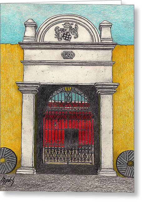 Entrance Door Drawings Greeting Cards - 1650 Entrance Greeting Card by Lew Davis