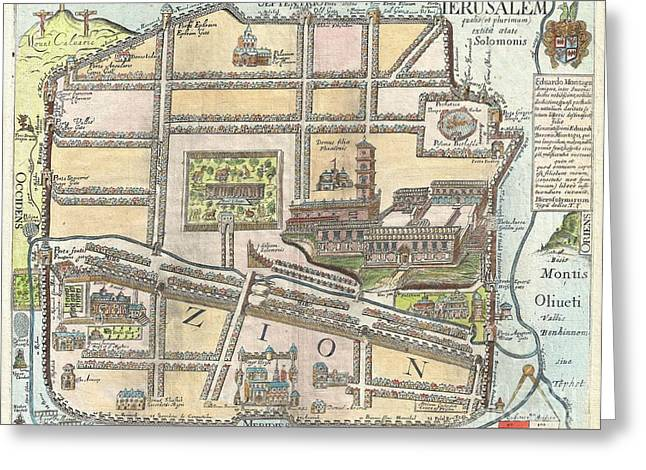 House With Gate Greeting Cards - 1650 Fuller Map of Jerusalem  Greeting Card by Paul Fearn