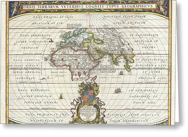 Though Blank Greeting Cards - 1650 Jansson Map of the Ancient World Greeting Card by Paul Fearn