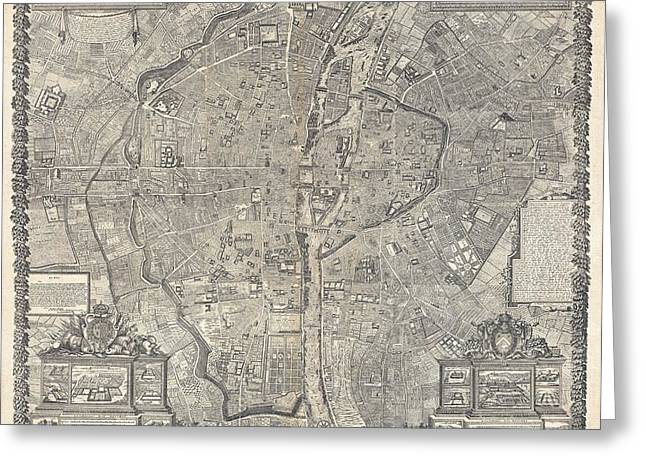 The Tuileries Gardens Greeting Cards - 1652 Gomboust Map of Paris France  Greeting Card by Paul Fearn