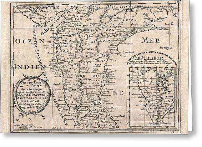 Out-of-date Greeting Cards - 1652 Sanson Map of India Greeting Card by Paul Fearn