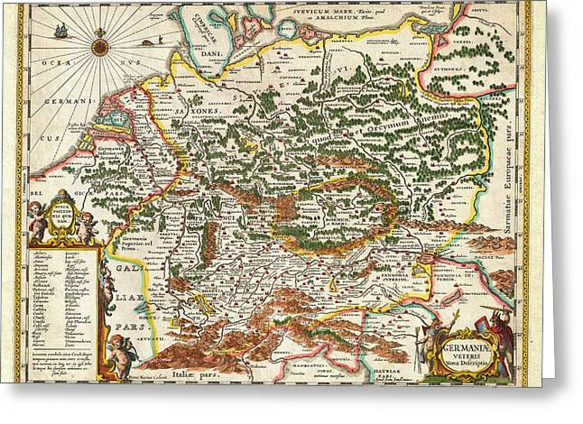 1657 Jansson Map Of Germany Germania Geographicus Germaniae Jansson 1657 Greeting Card by MotionAge Designs