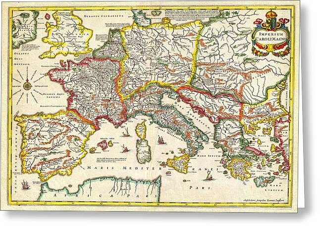 Vector Image Paintings Greeting Cards - 1657 Jansson Map of the Empire ofCharlemagne Geographicus CaroliMagni jansson 1657 Greeting Card by MotionAge Designs