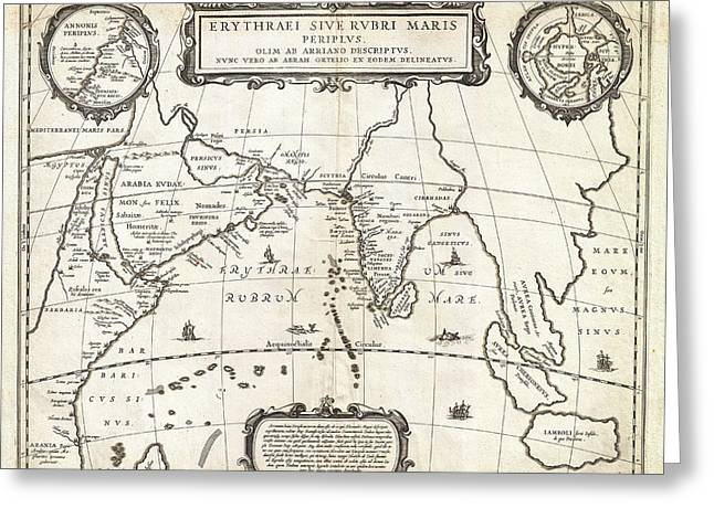 1658 Jansson Map Of The Indian Ocean Erythrean Sea In Antiquity Geographicus Erythraeansea Jansson 1 Greeting Card by MotionAge Designs