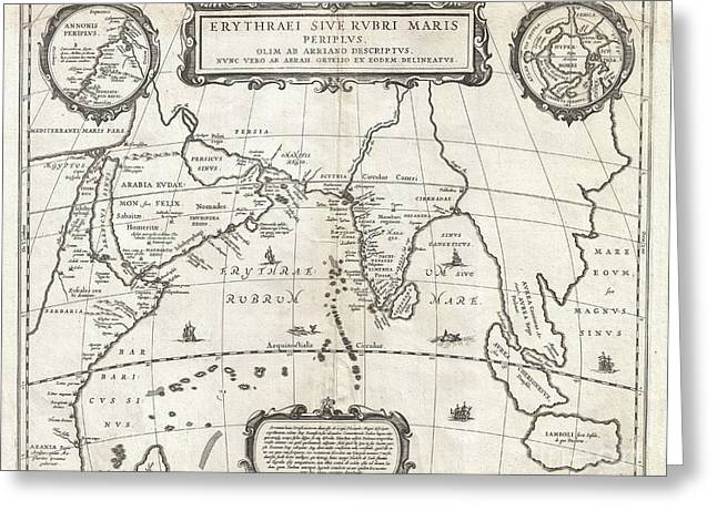 Sea Lions In The Ocean Greeting Cards - 1658 Jansson Map of the Indian Ocean Greeting Card by Paul Fearn