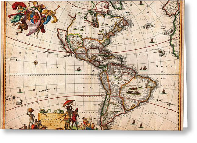 America The Continent Greeting Cards - 1658 Visscher Map of North America and South America Geographicus America visscher 1658 Greeting Card by MotionAge Designs
