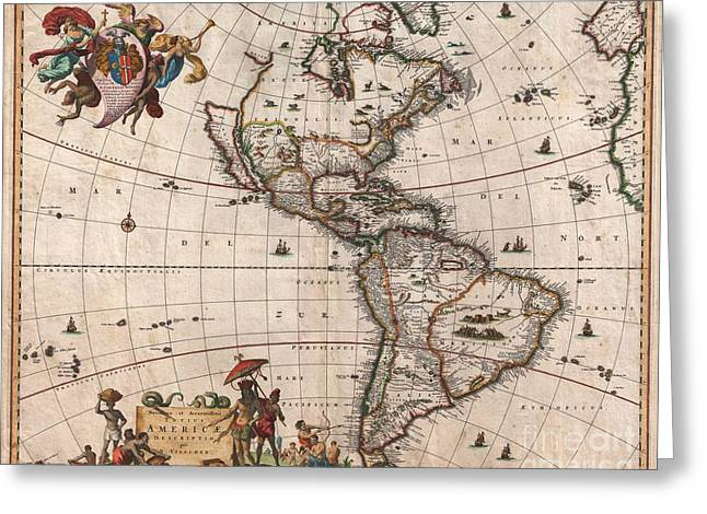 North American Inland Sea Greeting Cards - 1658 Visscher Map of North America and South America Greeting Card by Paul Fearn