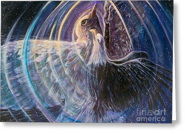 Swirls Of Energy Greeting Cards - 166 Determined Courage Greeting Card by Sigrid Tune