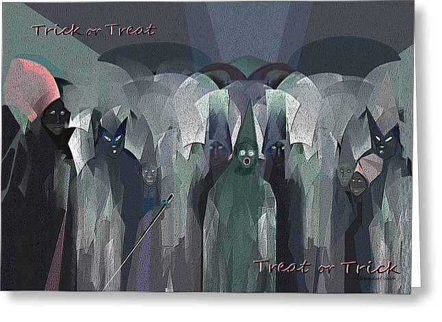 Ghastly Greeting Cards - 166 - Trick or Treat  Halloween   Greeting Card by Irmgard Schoendorf Welch