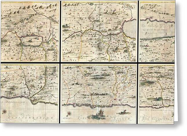 1662 Jansson And Hornius Map Of The Holy Land Israel And Palestine Greeting Card by Paul Fearn