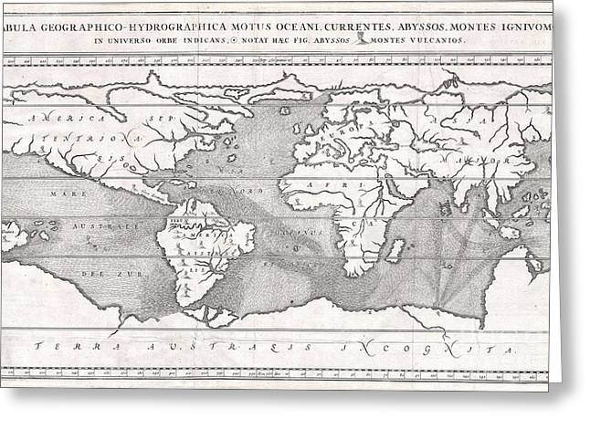 Geographic Location Greeting Cards - 1665 Kircher Map of the World  Greeting Card by Paul Fearn