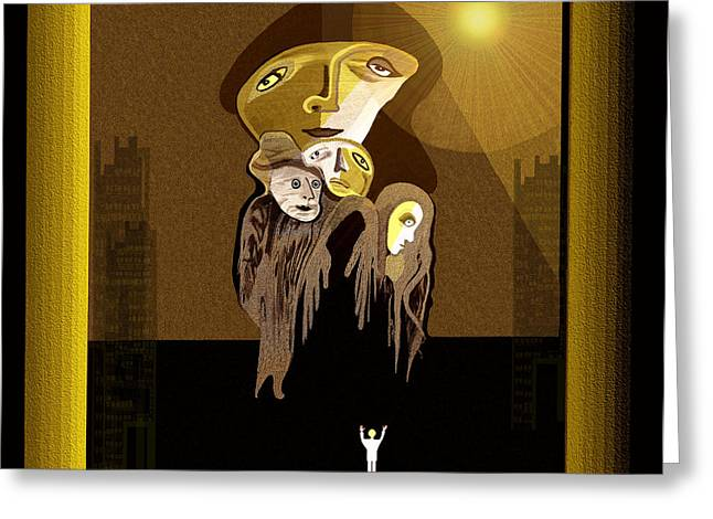 The Sun God Greeting Cards - 167 - Arrival of the Gods ... Greeting Card by Irmgard Schoendorf Welch