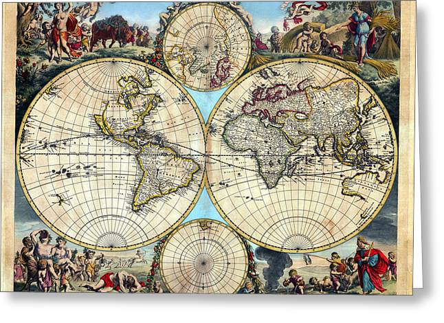 Engraving Greeting Cards - 1670 Nova Orbis Tabula Rare World Map Greeting Card by Karon Melillo DeVega