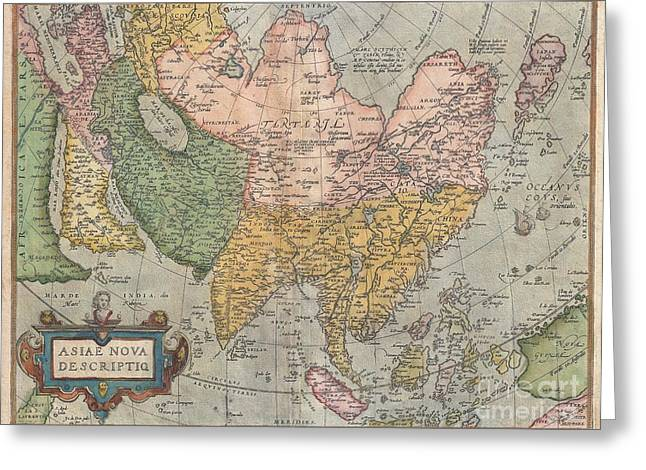 Correspond With Greeting Cards - 1670 Ortelius Map of Asia  Greeting Card by Paul Fearn