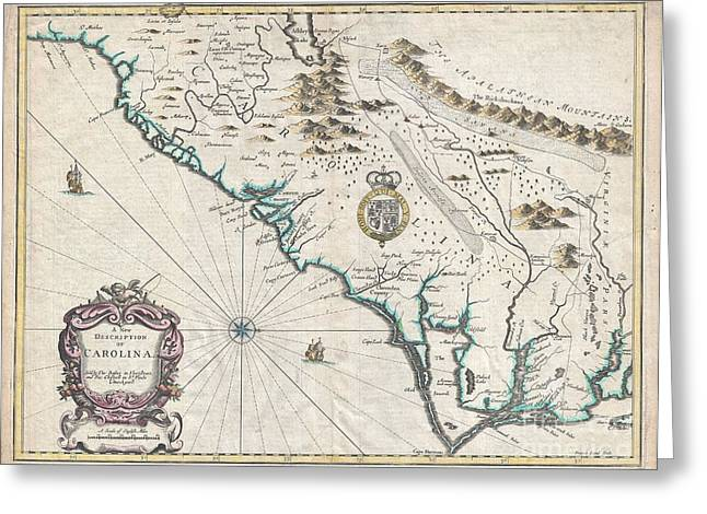 Slightly To The North Greeting Cards - 1676 John Speed Map of Carolina Greeting Card by Paul Fearn