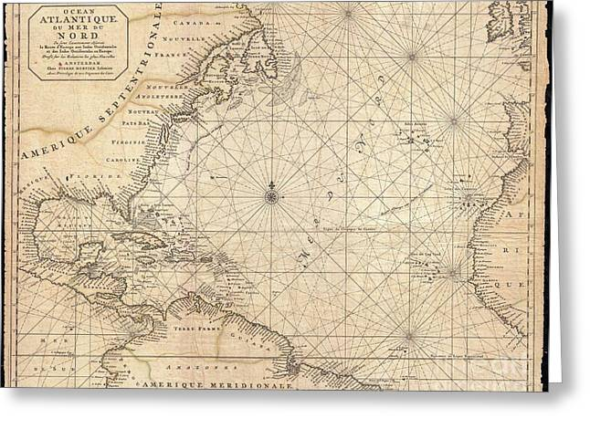 Slightly To The North Greeting Cards - 1683 Mortier Map of North America the West Indies and the Atlantic Ocean  Greeting Card by Paul Fearn