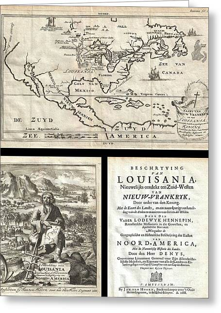 Great American Past Time Greeting Cards - 1688 Hennepin First Book and Map of North America Greeting Card by Paul Fearn