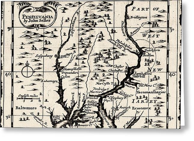1690 Greeting Cards - 1690 Pennsylvania Map Greeting Card by John Seller