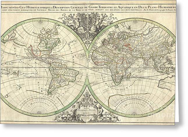 Amass Greeting Cards - 1691 Sanson Map of the World on Hemisphere Projection Greeting Card by Paul Fearn
