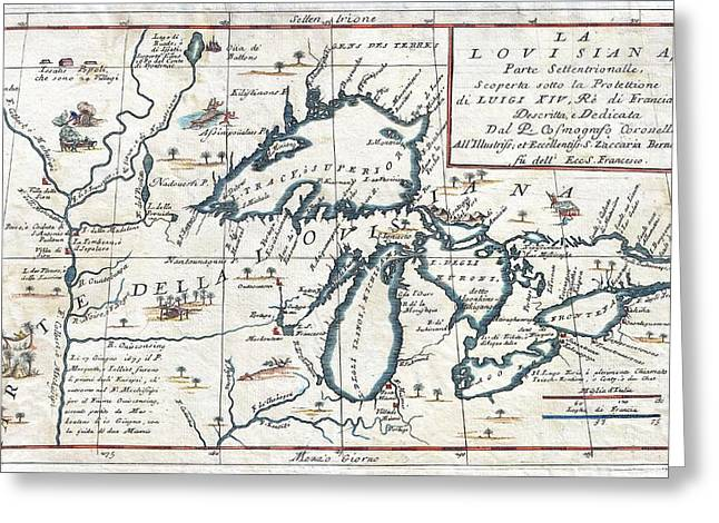 1696 Coronelli Map Of The Great Lakes Most Accurate Map Of The Great Lakes In The 17th Century Geogr Greeting Card by MotionAge Designs
