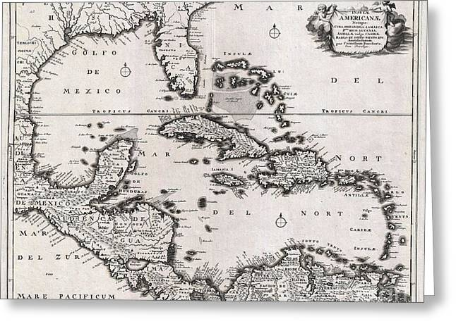 Though Blank Greeting Cards - 1696 Danckerts Map of Florida the West Indies and the Caribbean Greeting Card by Paul Fearn